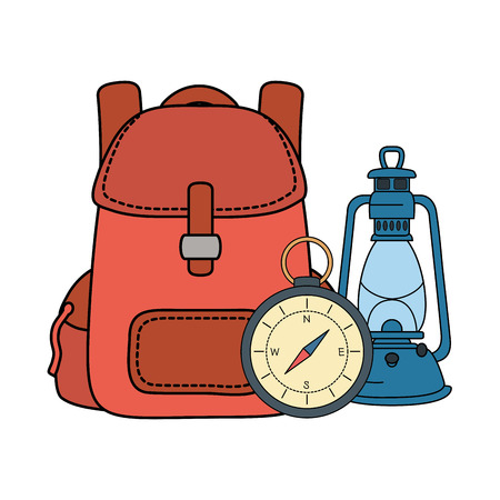compass guide with travel bag and kerosene lamp vector illustration design