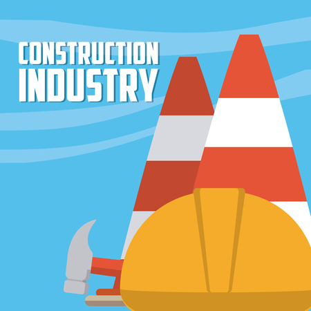 Construction industry with helmet and traffic cones vector illustration graphic design Ilustração