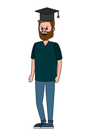 education man wearing graduation hat cartoon vector illustration graphic design