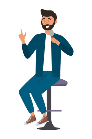 Man with microphone design, Avatar person human and attractive theme Vector illustration