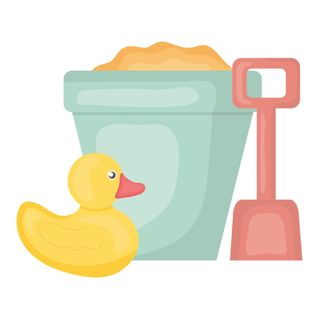 sand bucket with shovel and duck square frame and birthday elements vector illustraitor