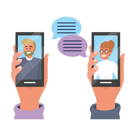 Hands holding smartphone tech video call live chat text bubbles vector illustration graphic design Illustration