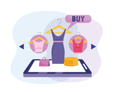 tablet ecommerce technology to buy clothes online Foto de archivo - 123138075
