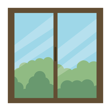 window house with day outside view  イラスト・ベクター素材