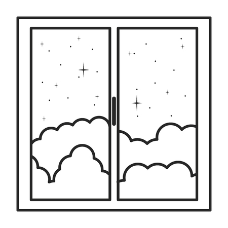window house with night outside view  イラスト・ベクター素材