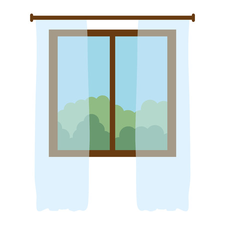 window house and courtain with day outside view  イラスト・ベクター素材