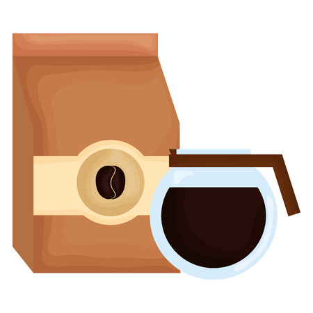 coffee bag product with coffee maker vector illustration design