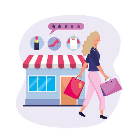 woman with shopping bags and online market vector illustration Stock Illustratie