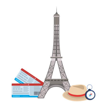 Eiffel tower landmark design, Travel trip vacation tourism journey and tourist theme Vector illustration Vettoriali