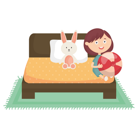 cute little girl with plastic balloon and rabbit in the bed