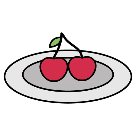cherries fresh fruit icon vector illustration design Illusztráció
