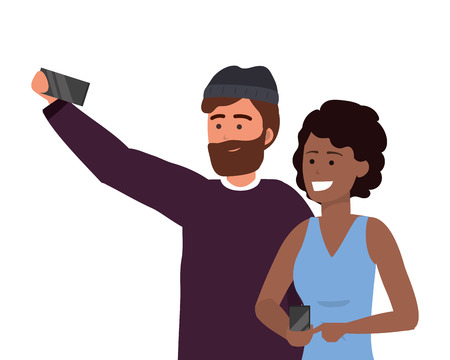 Millennial couple date using smartphone taking selfie smiling posing beanie afro bearded vector illustration graphic design Illustration