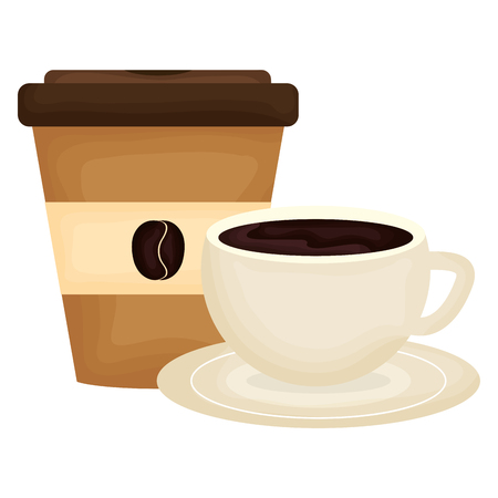 delicious coffee in cup and plastic container vector illustration design