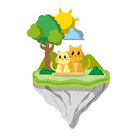 couple cat animal in float island vector illustration