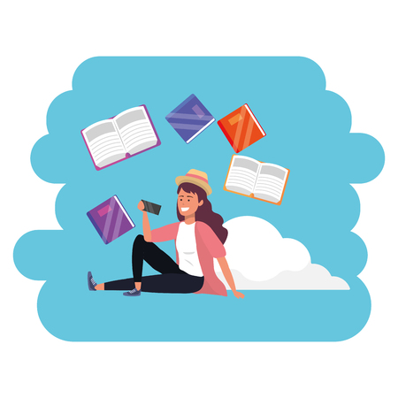 Online education millennial young student cloud books search career graduation vector illustration graphic design