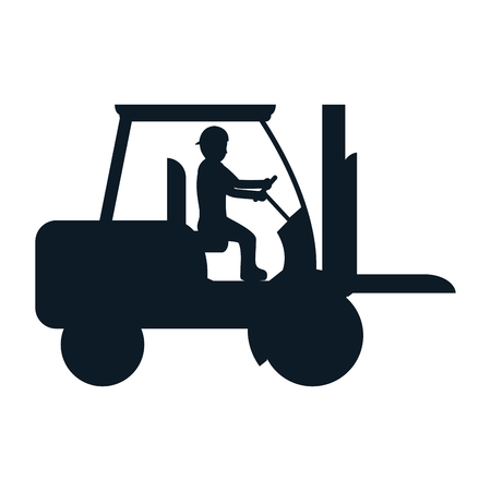 pictogram laborer with forklift equipment maintenance vector illustration