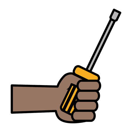 hand with screwdriver tool vector illustration design  イラスト・ベクター素材