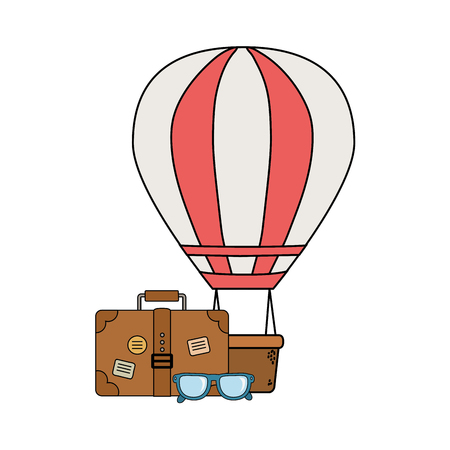 suitcase travel with eyeglasses and camping icon vector illustration design