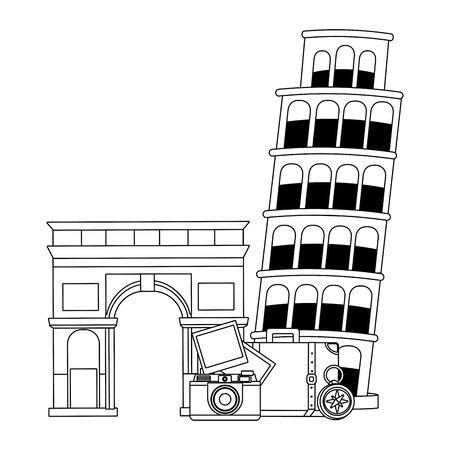 Landmarks and travel design Illusztráció