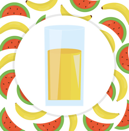glass with juice of banana and watermelon vector illustration design