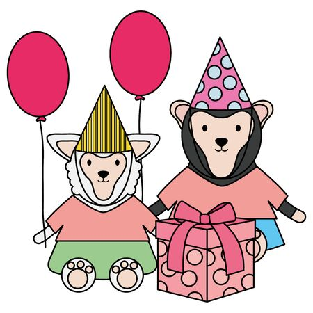 monkey and sheep with gift and balloons helium in birthday party Stock Vector - 124549903