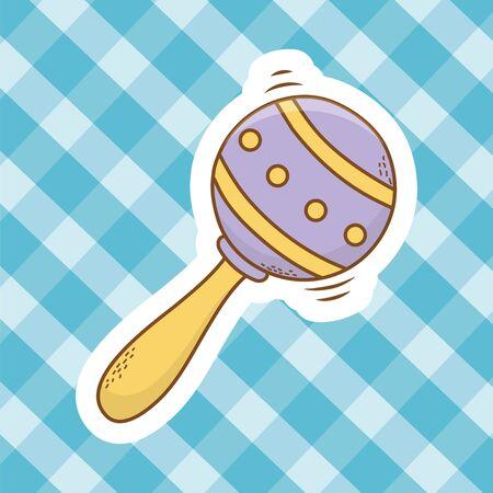 cute baby shower element rattle cartoon vector illustration graphic design Illustration