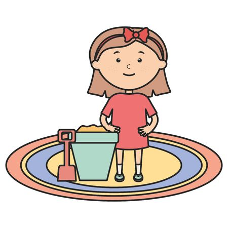 cute little girl playing with sand bucket vector illustration design Stock Vector - 124549350