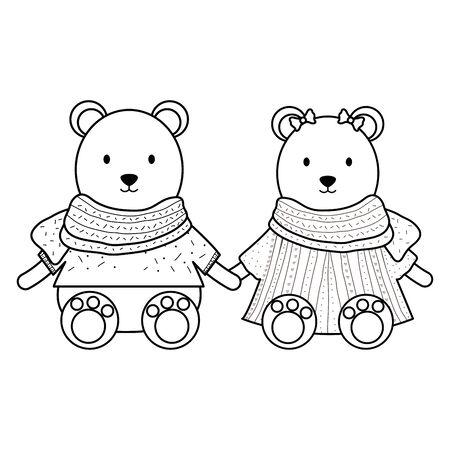 cute polar bears couple childish characters vector illustration design Illustration