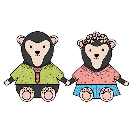 cute monkeys couple childish characters vector illustration design Stock Vector - 124549379