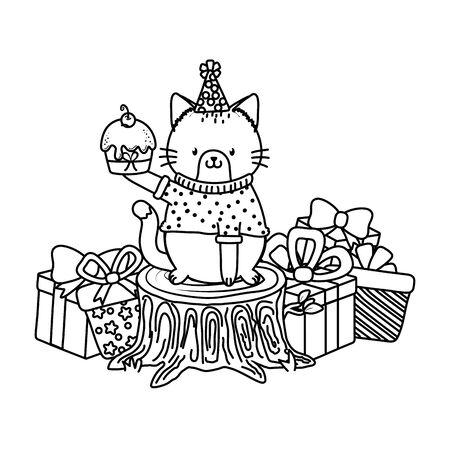 cute little animal cat at birthday party festive scene cartoon vector illustration graphic design