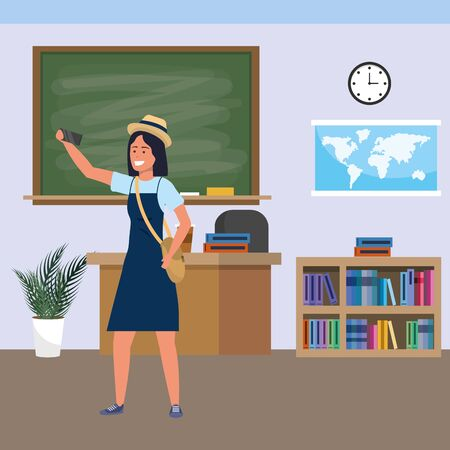 Millennial student woman wearing dress and hat using smartphone indoors classroom background with blackboard map clock and bookstand vector illustration graphic design