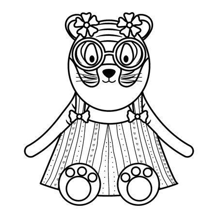 cute female tiger childish character vector illustration design
