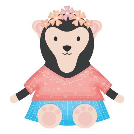 cute female monkey childish character Stock Vector - 124550326