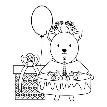 cute reindeer with sweet cake and gift in party celebration Stock Vector - 124550726