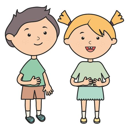 cute little kids couple characters