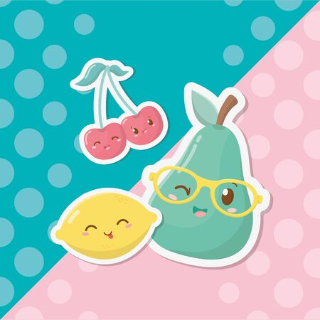 fresh and tropical fruits characters Illustration