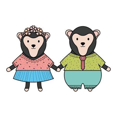 cute monkey couple childish characters Illustration