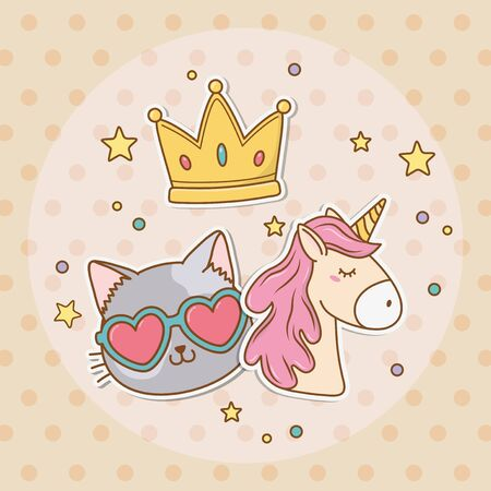 cute unicorn sticker style Illustration