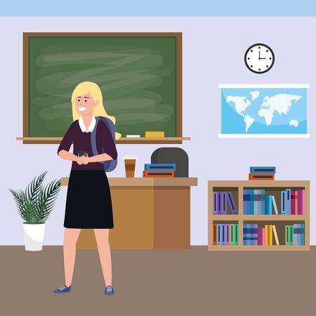 Millennial student indoors classroom Zdjęcie Seryjne - 124550449