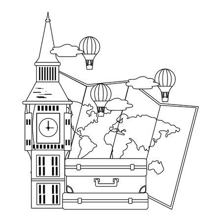 Big ben tower design Иллюстрация