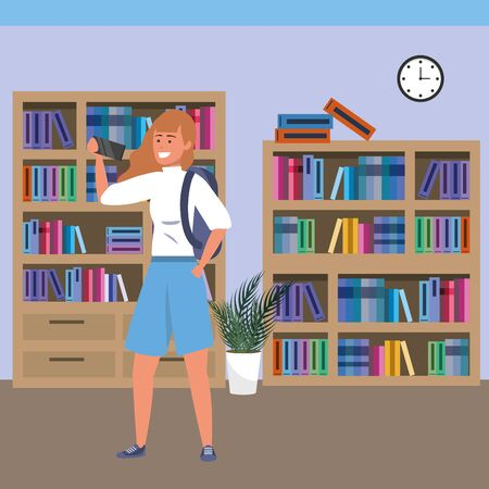 Millennial student redhead woman wearing shorts using smartphone taing selfie on library background colorful bookstand vector illustration graphic design