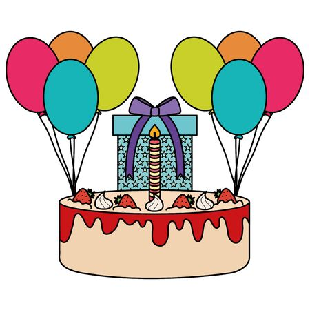 gift box with sweet cake and balloons helium floating vector illustration design 일러스트