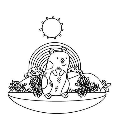 cute pet little animal hamster outdoor scene cartoon vector illustration graphic design Illustration