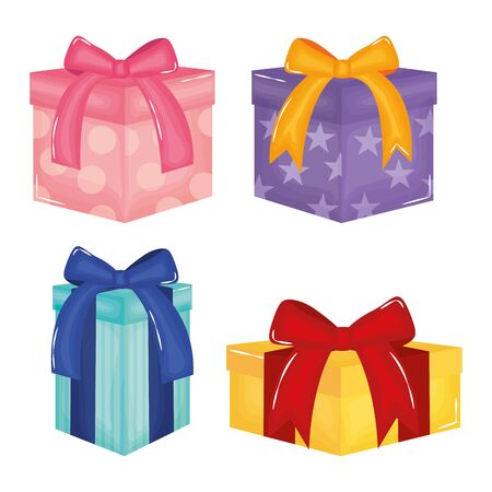 set of gifts boxes presents colors and forms vector illustration design
