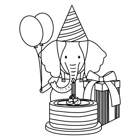 cute elephant in birthday party vector illustration design