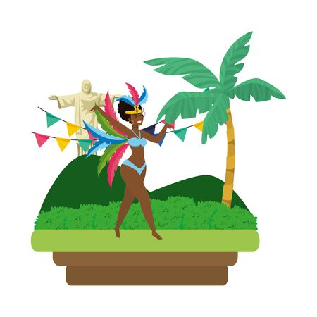 woman dancing celebrating brazil carnival on landscape with pennants and Christ redeemer vector illustration editable Standard-Bild - 124570671