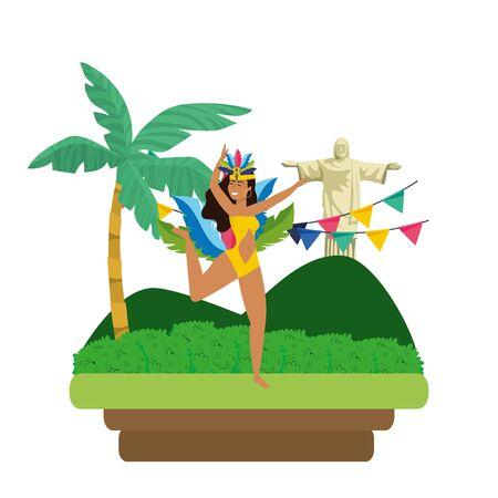 woman dancing celebrating brazil carnival on landscape with pennants and Christ redeemer vector illustration editable Standard-Bild - 124570691