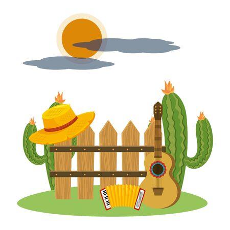 music instruements guitar with accordion outdoor scene cartoon vector illustration graphic design