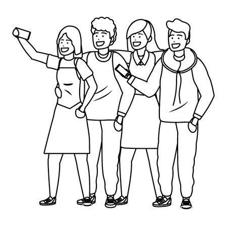 Millennial group using smartphone taking selfie posing together smiling happy blonde hoodie  black and white vector illustration graphic design