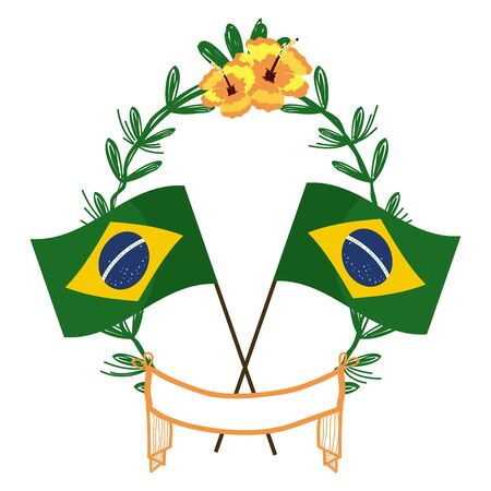 two brazil flags tilted on laurel wreath with flowers ribbon isolated vector illustration editable Standard-Bild - 124567278
